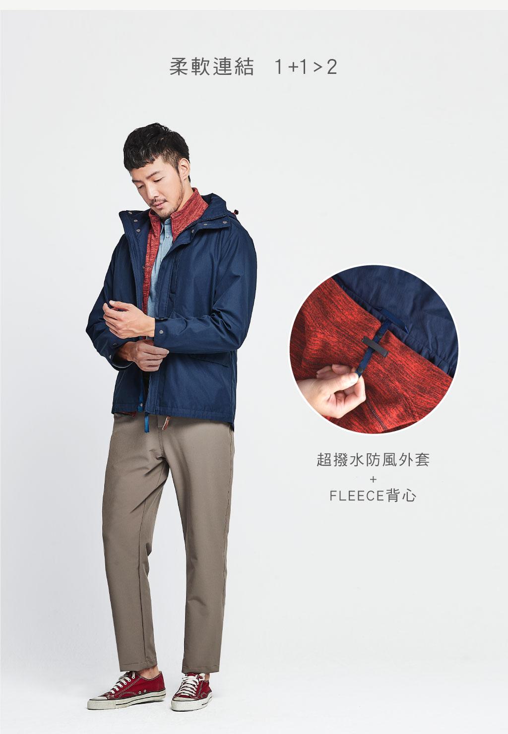 超撥水棉男防風可拆帽外套-都會休閒-外套-宜而爽 YOURSUN|都會機能舒適生活服飾