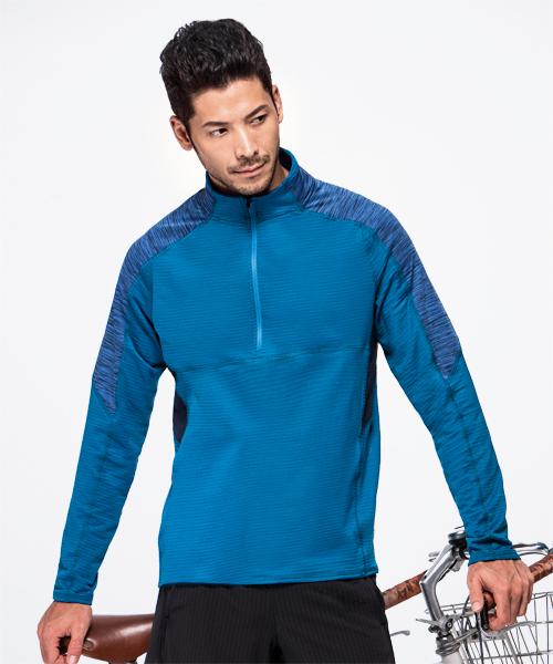 熱循環男拉鍊立領長袖衫-YA系列-排汗密碼-3GUN |男性時尚內衣褲MIT品牌