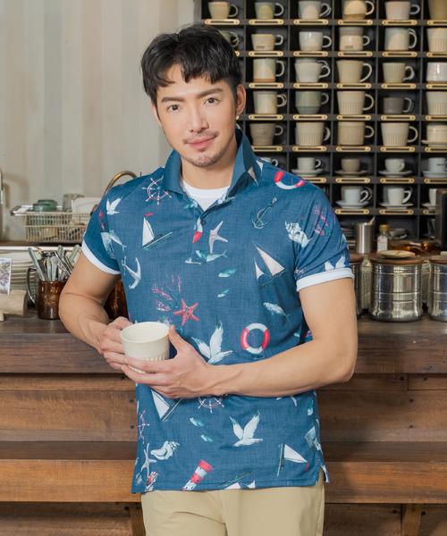 專利吸排男印花短袖POLO-都會休閒-POLO-3GUN |男性時尚內衣褲MIT品牌